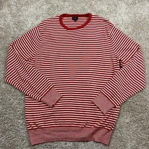 J.Crew Sweater Mens Size XL Red White Striped Pullover Crew Neck Casual Cotton
